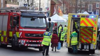 Fire engine and ambulance at Mold market