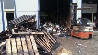 Fire damaged industrial unit in Westburt