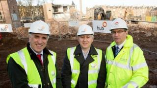 Paul McGirk (Chief Executive Hub South East Scotland), Cllr Paul Godzik (Education Convener for the City of Edinburgh Council) and Gordon Milne (Morrison Construction Project Director)