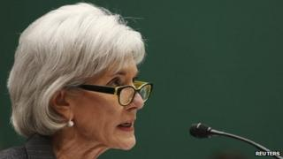US Health and Human Services Secretary Kathleen Sebelius testifies before the House Energy and Commerce Health Subcommittee in Washington DC 11 December 2013