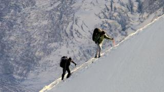 Mountaineers in the French Alps