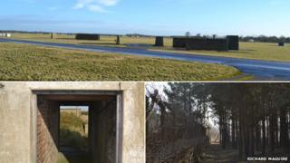 Blast walls at RAF Coltishall (top) Bomb testing tunnel on Orford Ness (bottom left) perimeter patrol path at RAF Barnham (bottom right)