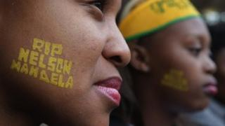Young women at Mandela's Soweto memorial service