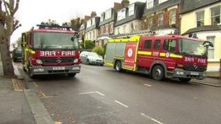 Fire engines outside the scene of the fire