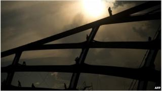 Building work at Manaus stadium, Brazil