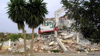 A villa in the southern Spanish town of Vera being bulldozed