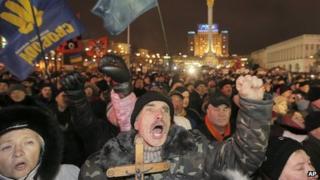 Pro-EU activists in Independence Square, Kiev. 17 Dec 2013