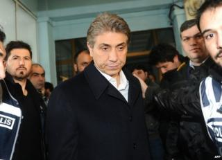 Police escort Mustafa Demir, mayor of Istanbul's Fatih district, after his arrest, 18 December