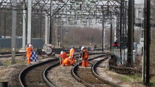 Railway workers on train tracks