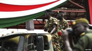 South Sudanese soldiers in a parade