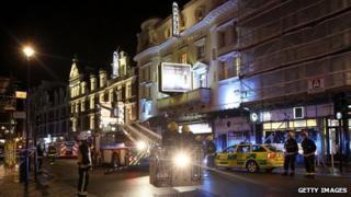 Emergency crews outside London's Apollo theatre