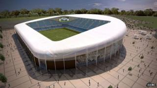 Outside view of proposed CCFC stadium