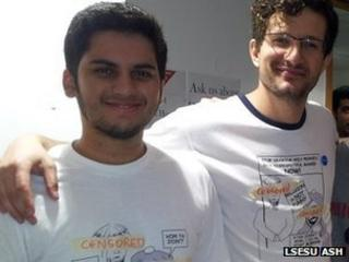 Chris Moos and Abhishek Phadnis wearing censored versions of the T-shirts