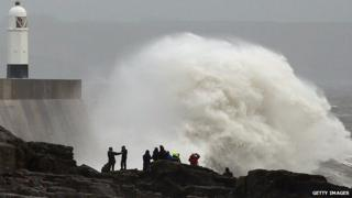Storm waves batter the coast at Porthcawl, Bridgend county borough.