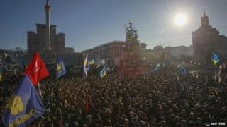 Pro-EU protesters on Kiev's Independence Square - 22 December