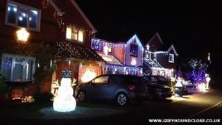 Christmas lights display in Greyhound Close