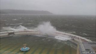 Waves battering the Tinside Lido