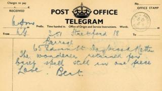 Telegram sent by Bert Hamilton Smith