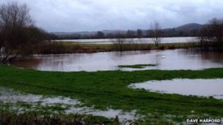 River Lugg overflowing