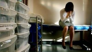 Rape victim in medical examination room. Picture posed by model
