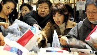 Shoppers at a store in Tokyo