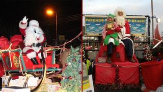 Canvey Rotary Club Santa (left) and Friends of Cornard Beach Santa