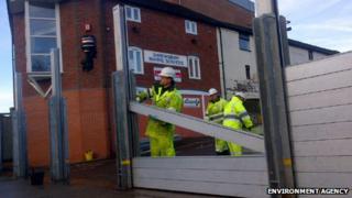 Flood defences being taken down