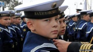 Russian Naval Academy cadets participate in a ceremony at the start of a new school year.