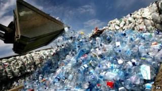 Bottles at recycling plant