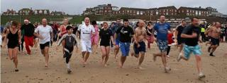 Dippers in Gorleston on New Year's Day
