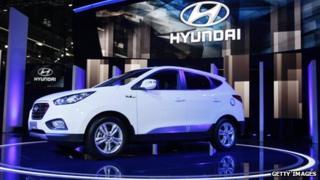 Hyundai Tucson SUV on display