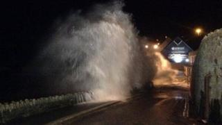 Waves crashing at high tide in Newquay