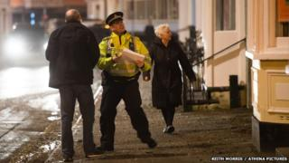 Seafront homes in Aberystwyth were evacuated on Friday evening