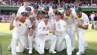 Australia celebrate winning the Ashes