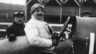 September 1910: Boillot in a Leon Peugeot racing car at Boulogne, for the Coupe des Voiturettes race