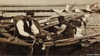 Archive image of Manx fishermen in Port St Mary