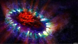Artist's illustration of supernova 1987A