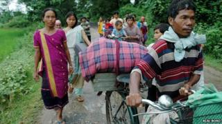 Tribals escaping violence in Karbi Anglong
