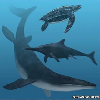 Artist's impression of marine reptiles