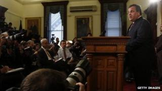 New Jersey Governor Chris Christie speaks at a press conference on the bridge controversy on January 9, 2013.