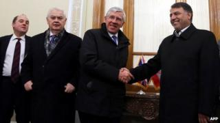 Jack Straw, Lord Lamont and Ben Wallace meet a member of the Iranian Parliament