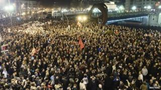 Marchers in Bilbao, northern Spain, 11 January