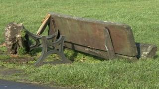 Destroyed bench