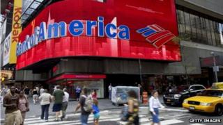 A Bank of America sign in New York