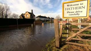 The flood water in Hathern