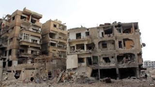 Ruined building in Daraya, Syria - 12 January