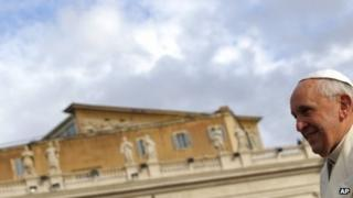 """Pope Francis arrives for his weekly general audience, in St. Peter""""s Square, at the Vatican, Wednesday, Jan. 15, 2014."""