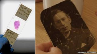Microscope slide containing prostate tissue sample of Prouse's victim; family photo of William Thomas Briggs