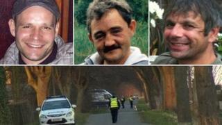 Lukasz Slaboszewski (l), John Chapman (c) and Kevin Lee (r) were found in ditches