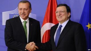 Turkey's PM Recep Tayyip Erdogan (left) with EU Commission President Jose Manuel Barroso in Brussels, 21 Jan 14